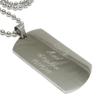 Stainless Steel Personalized 2 Dog Tag with Necklace Free Engraving