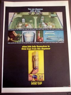 1963 Original Vintage Ad Dixie Cups Cup Dispenser