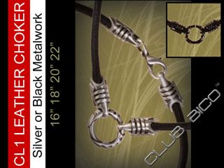 CL1 Black Leather Necklace Pewter 16 18 20 22 inch Tribal New