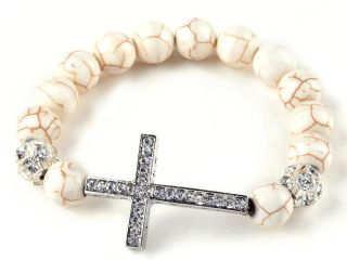 Sideways White Turquoise Crystal Rhinestone Cross Bangle Bracelets