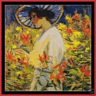 Cross Stitch Chart Among The Flowers Lady Hat