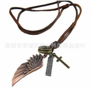 women men s tibetan angel wing cross bronze pendants leather necklace
