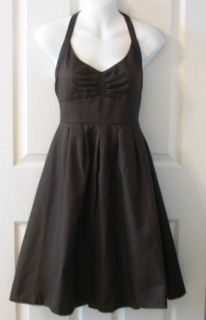 Chocolate Brown $195 Lydia Cotton Cady A Line Halter Dress Sz 8
