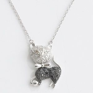 25 Ct TW Diamond Cat Kitten Necklace 18 Silver Pendant Jewelry Xmas
