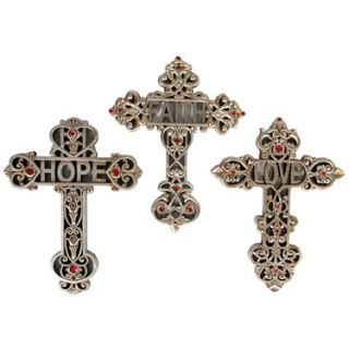 Set of Crosses Faith Hope Love Christian Decor New