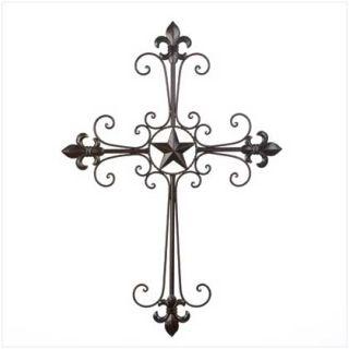 Wall Cross Wrought Iron Fleur de Lis Spiritual Religious Art