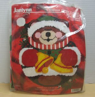 Christmas Plastic Canvas Bear With Bells Wall Hanging Brand New