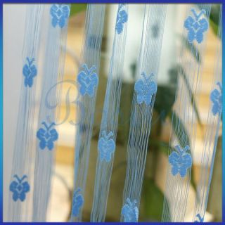 Blue Fringe Door Window Panel Room Divider String Curtain Butterfly