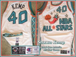 Shawn Kemp 1996 Game Worn Champion Home White All Star Game (San
