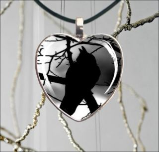 BIRD CROW ON TREE #1 HEART GLASS CABOCHON SILVER NECKLACE PENDANT