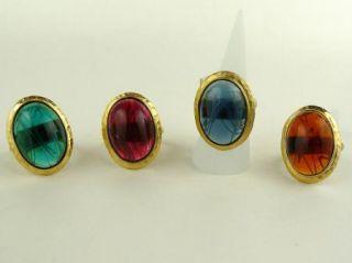 Kenneth Jay Lane Vintage Inspired 22k Gold Ring Montana or Topaz