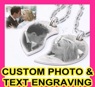 Custom Photo Split Couple Heart Charm Pendant Necklaces