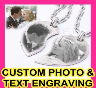 Custom Photo Split Couple Heart Charm Pendant Necklaces