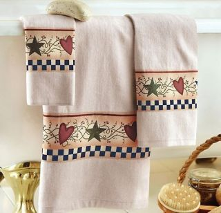 New Country Folk Stars Hearts Berries Bath Towels Set Bathroom Decor