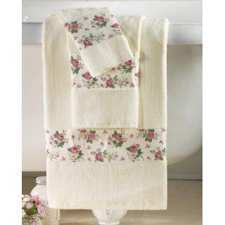 Bathroom Set Pink Country Rose Shower Curtain Bath Rug 3pc Towel