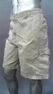 Croft & Barrow Mens 42 Cotton Cargo Shorts Khaki Colorblock Designer