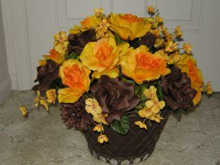 Silk Floral Flower Arrangement Centerpiece  Yellow Cocoa Bliss