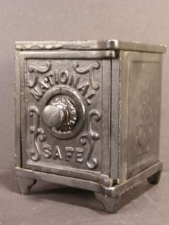 Antique National Cast Iron Tin Toy Bank Safe Penny Still Combination