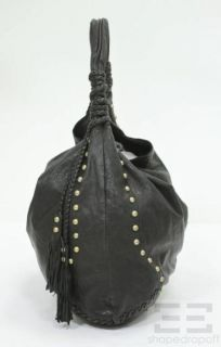 Cynthia Rowley Black Leather Braided Tassel Large Hobo Bag