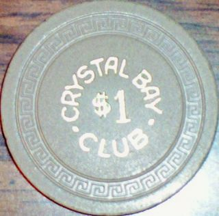 Old $1 Crystal Bay Club Casino Poker Chip Vintage Antique Small Key