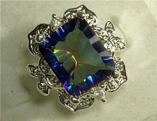 925 STERLING SILVER ORNATE BLUE MYSTIC TOPAZ RING   SZ 7   NEW