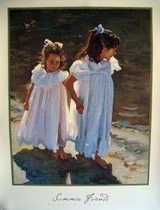 Nancy Crookston Summer Friends 27x36 Print Kids Beach