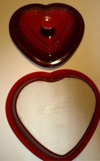 Le Creuset Heart Shaped Stoneware Casserole Dish with Lid Red 2 Quart