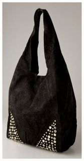Cynthia Vincent Beaded Suede Grocery Bag Handbag Black