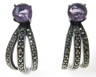 Designer Silver Marcasite Purple Crystal Drop Earrings