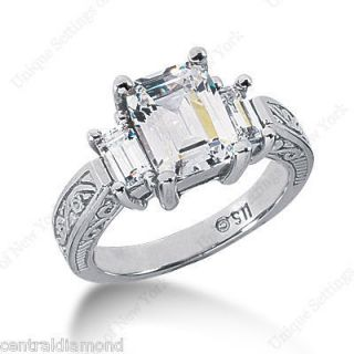 00 Carat 3 Stone Emerald Cut CZ Engagement Ring 14k Gold