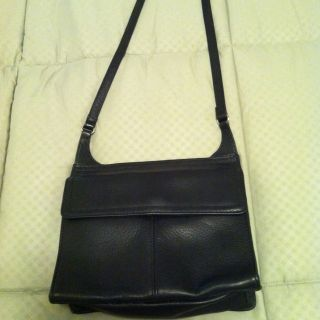 Fossil Cross Body Black Leather Bag