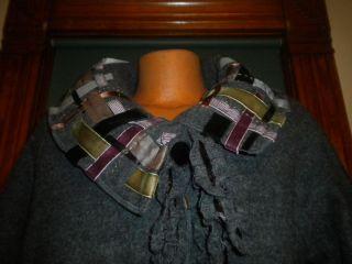 COVELO CLOTHING BOILED WOOL CHARCOAL GRAY JACKET SWEATER COAT RIBBON