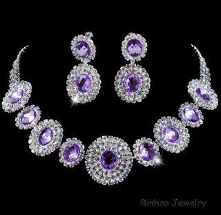 Bollywood Fasion Necklace Earring Jewelry Set Rhinestone 6Colors