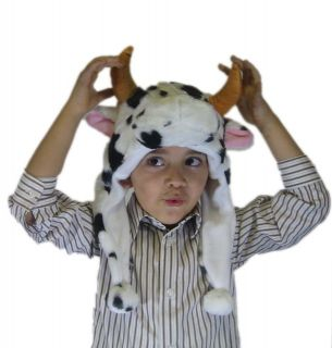 Great White Cute Plush Animal Hats Cow Bull Mittens Acyrlic with