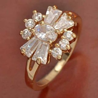 Deluxe 9K Gold Filled CZ Wedding Ring Size 6 5 B323