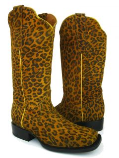 Brown Leather Leopard Spots Western Cowboy Boots Square Toe