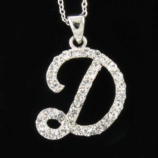 Silver Tone Initial Letter D Crystal Pendant Necklace D