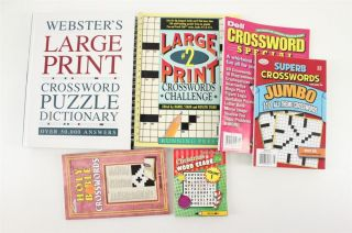 Lot WEBSTERS Large Print Crossword Puzzle Dictionary Puzzle Books 6PC