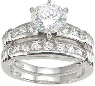 2ct cubic zirconia sterling silver wedding set