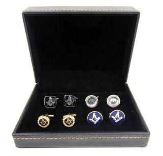 White, Gold Crystal, Silver & Purple Masonic Cufflinks Set Storage Box