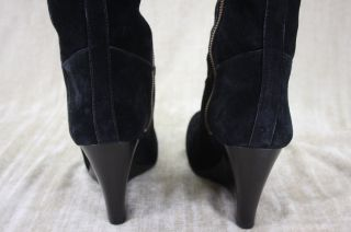Tory Burch Dabney Daphney Black Suede Wedge Heels Tall Knee Boots 9