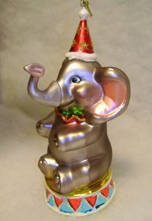 Circus Elephant Glass Christmas Tree Ornament