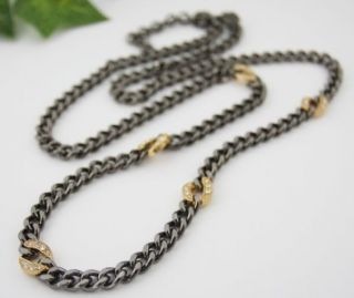 Custom Jewelry Hematite Link Chain by gold plated pave links Necklace