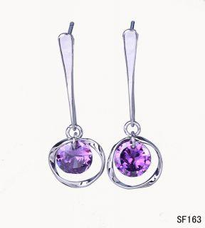 Silver Amethyst Crystal Charms Hoop Earring Eardrop SF163