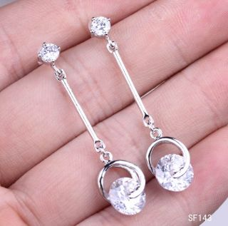 Sterling Silver White Hoop Crystal Charm Dangle Earring Eardrop SF143