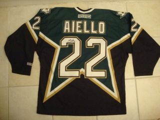 Vintage NHL Dallas Stars Anthony Aiello Autographed Sewn CCM Hockey