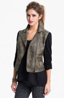 Collection B Faux Leather & Ponte Jacket (Juniors)