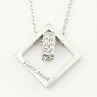 Modern Cubic Double Rings Crystal Pendant Necklace VP564