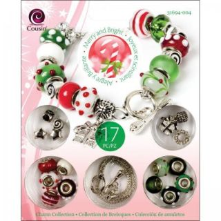 Cousin Merry and Bright Holiday Bead Charm Bracelet Kit Complete New