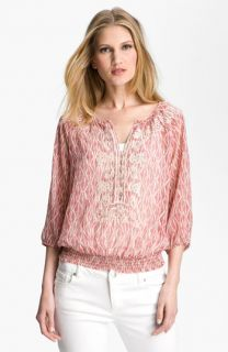 Daniel Rainn Embroidered Sheer Print Blouse (Petite)